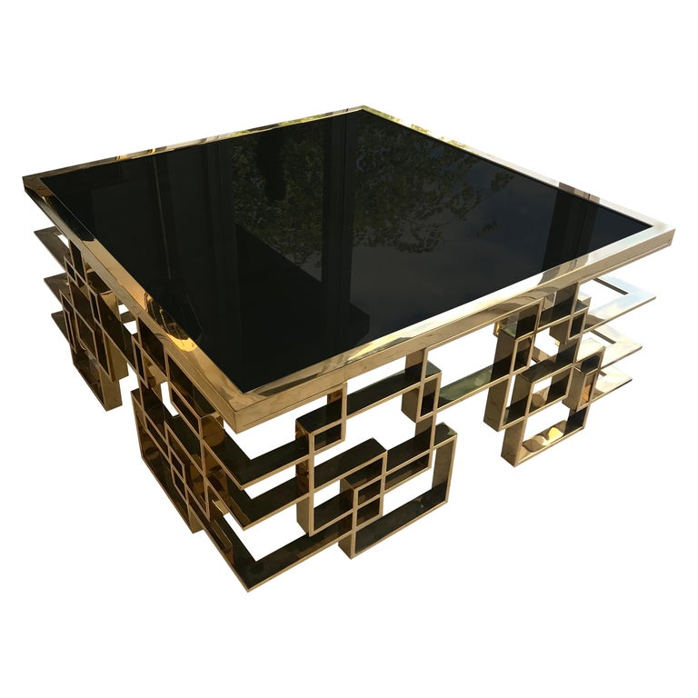 Italian Brass and Black Glass Cocktail Table For Sale