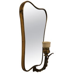Italian Brass and Ceramic Wall Mirror, 1950s