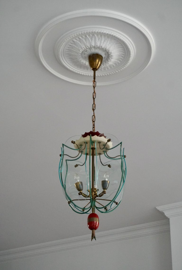 Italian Brass and Curved Glass Pendant Light, Lantern For Sale 5