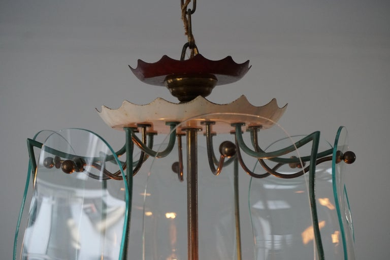 Italian Brass and Curved Glass Pendant Light, Lantern For Sale 8