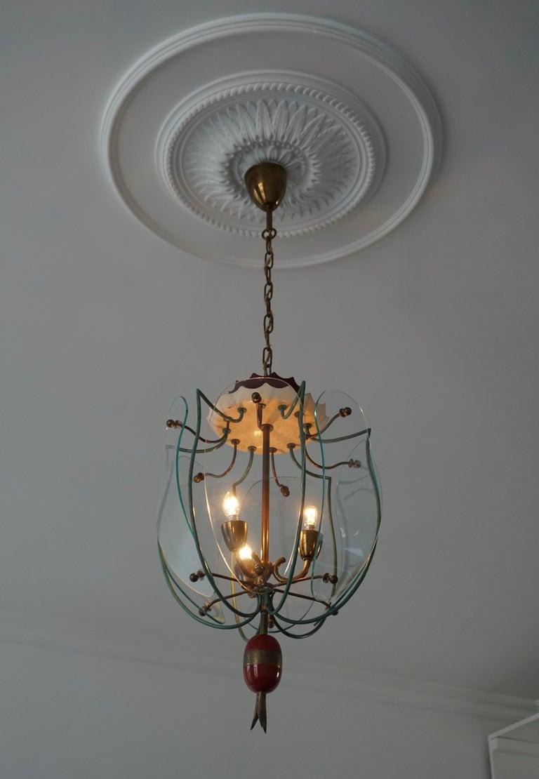 Mid-Century Modern Italian Brass and Curved Glass Pendant Light, Lantern For Sale