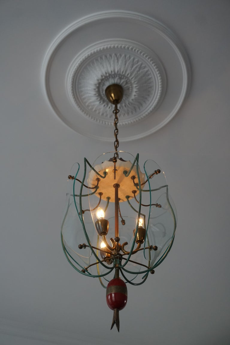 Italian Brass and Curved Glass Pendant Light, Lantern In Good Condition For Sale In Antwerp, BE