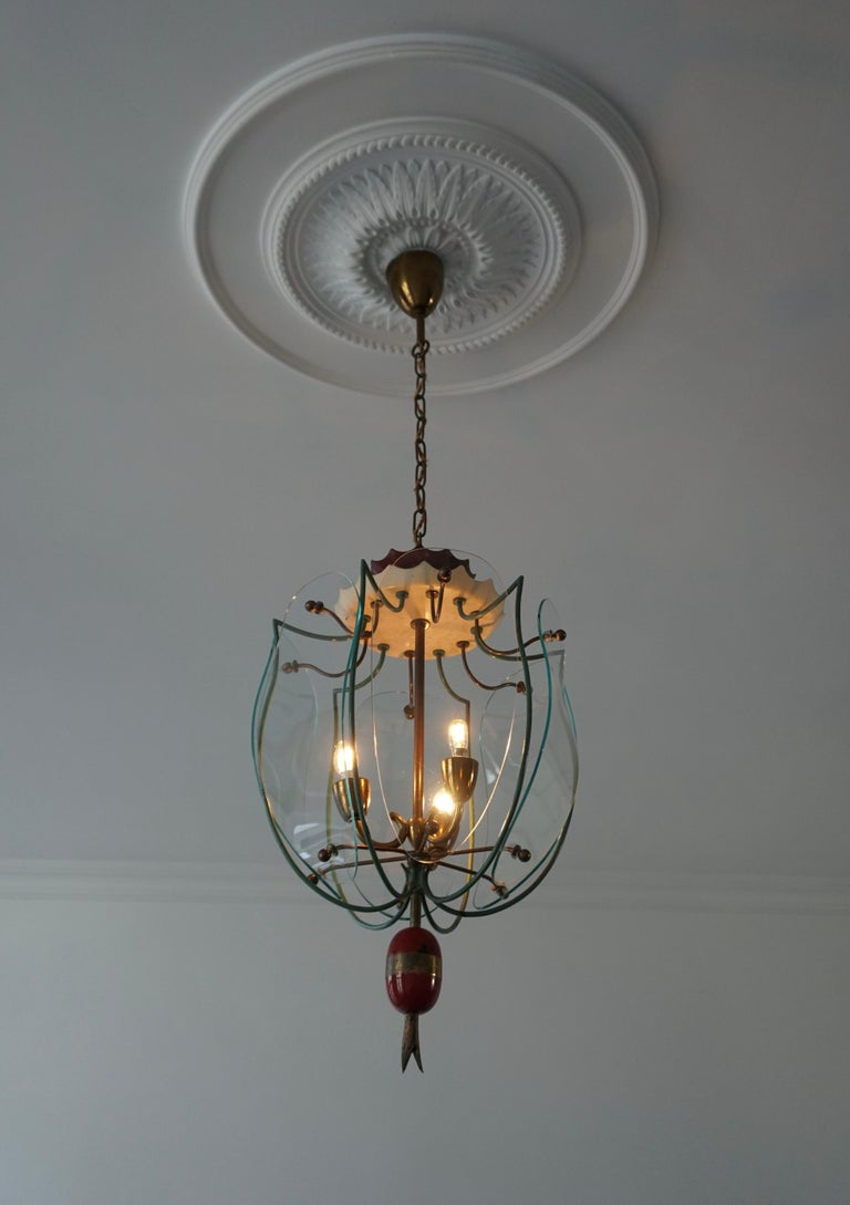 20th Century Italian Brass and Curved Glass Pendant Light, Lantern For Sale