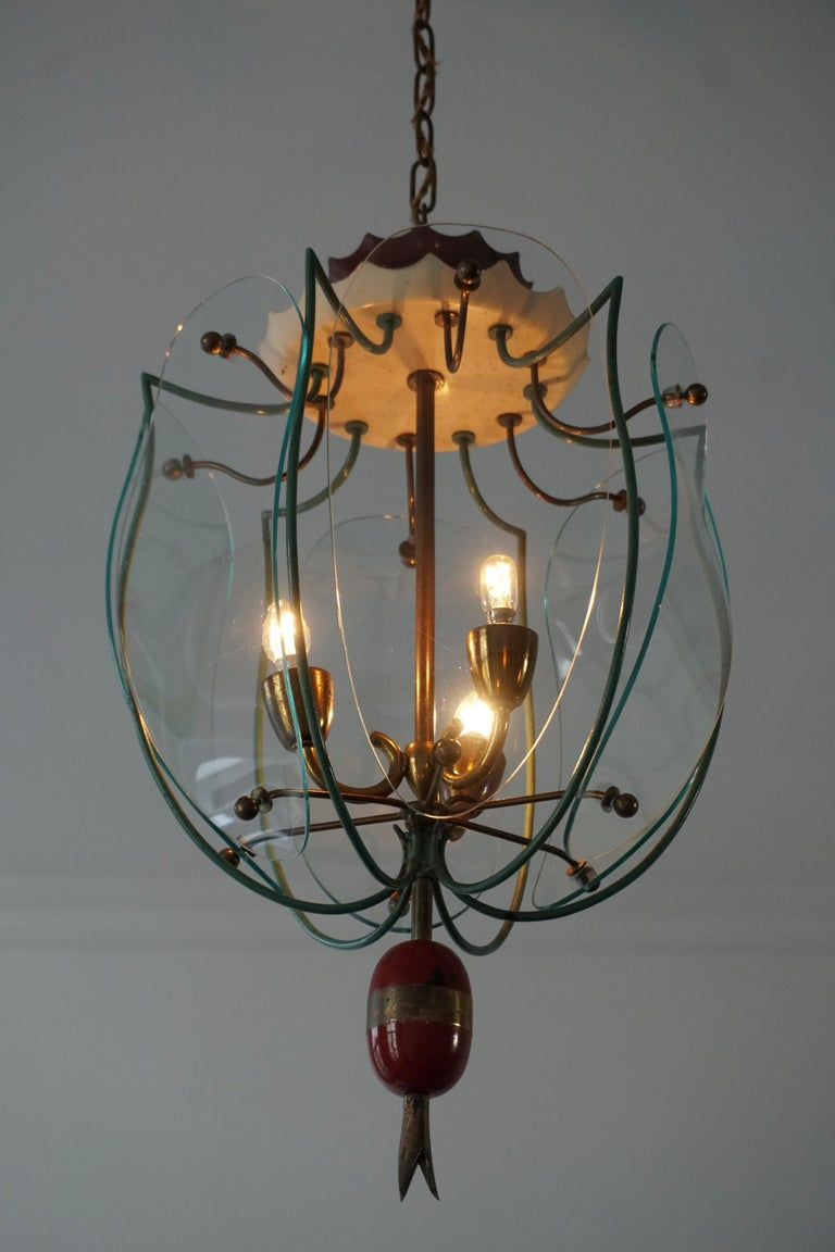 Italian Brass and Curved Glass Pendant Light, Lantern For Sale 1