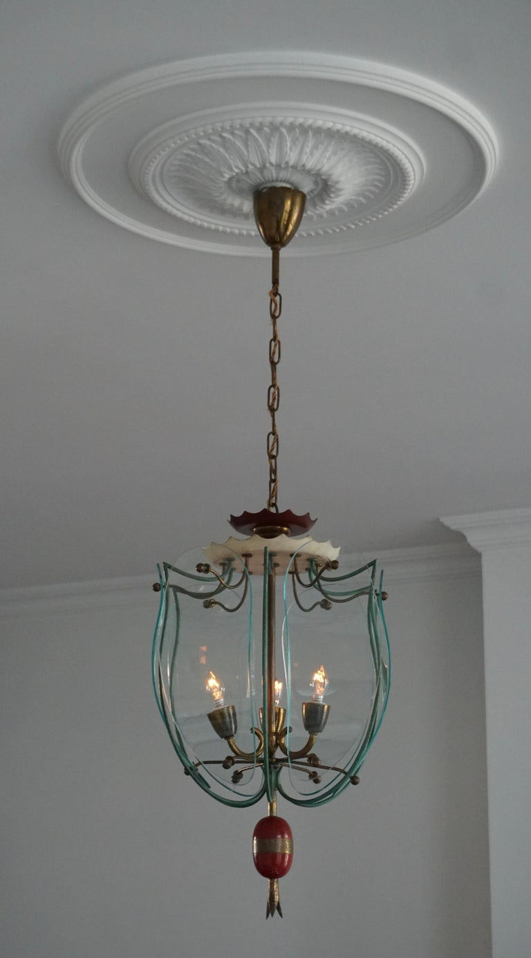 Italian Brass and Curved Glass Pendant Light, Lantern For Sale 2