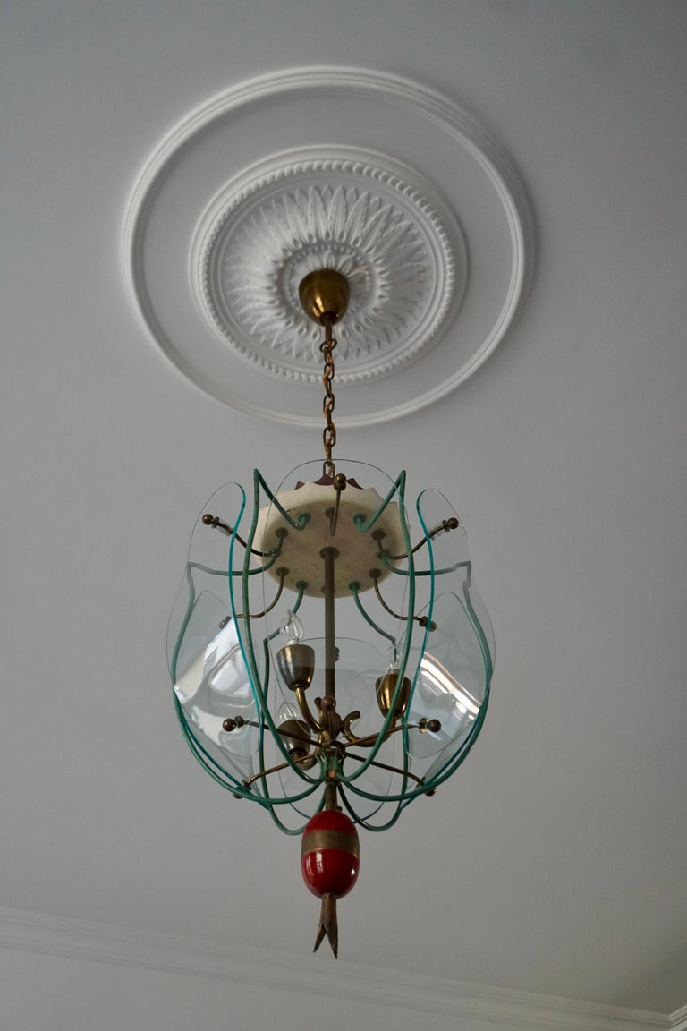 Italian Brass and Curved Glass Pendant Light, Lantern For Sale 3