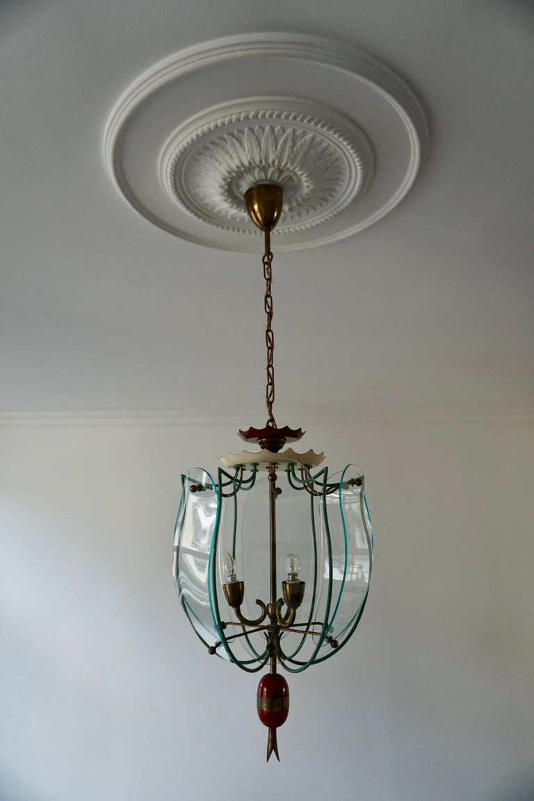 Italian Brass and Curved Glass Pendant Light, Lantern For Sale 4