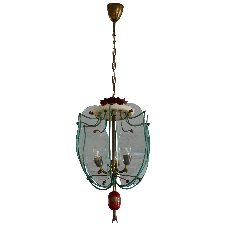 Italian Brass and Curved Glass Pendant Light, Lantern