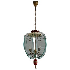 Italian Brass and Curved Glass Pendant Light, Lantern