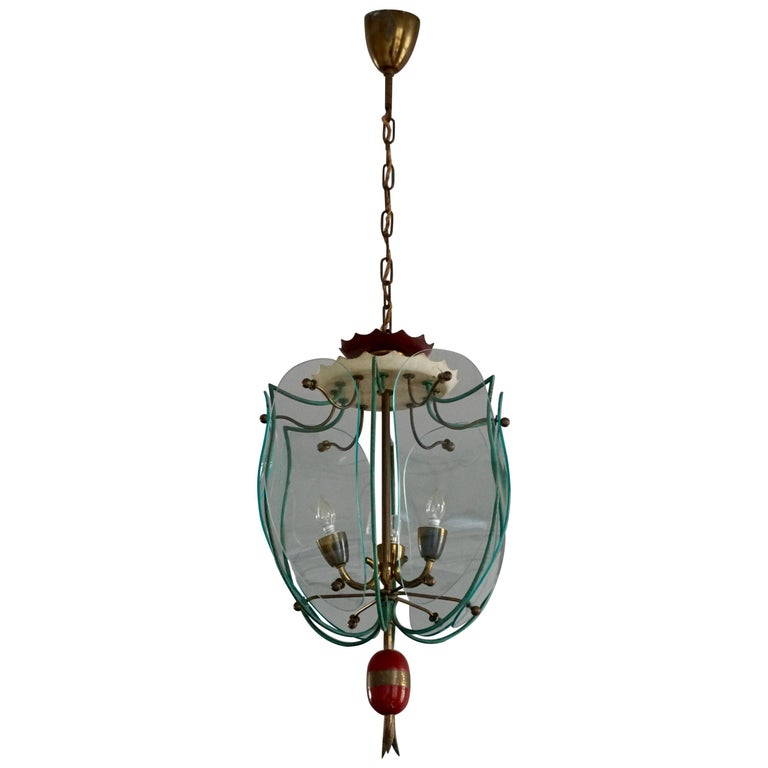 Italian Brass and Curved Glass Pendant Light, Lantern For Sale