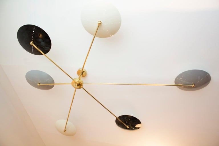 Mid-Century Modern Italian Brass and Enamel Ceiling Mounted Light For Sale