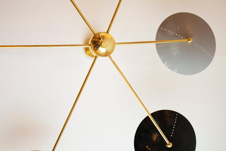 Contemporary Italian Brass and Enamel Ceiling Mounted Light For Sale