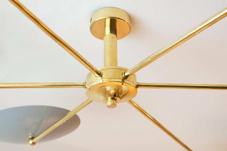 Italian Brass and Enamel Ceiling Mounted Light For Sale 2