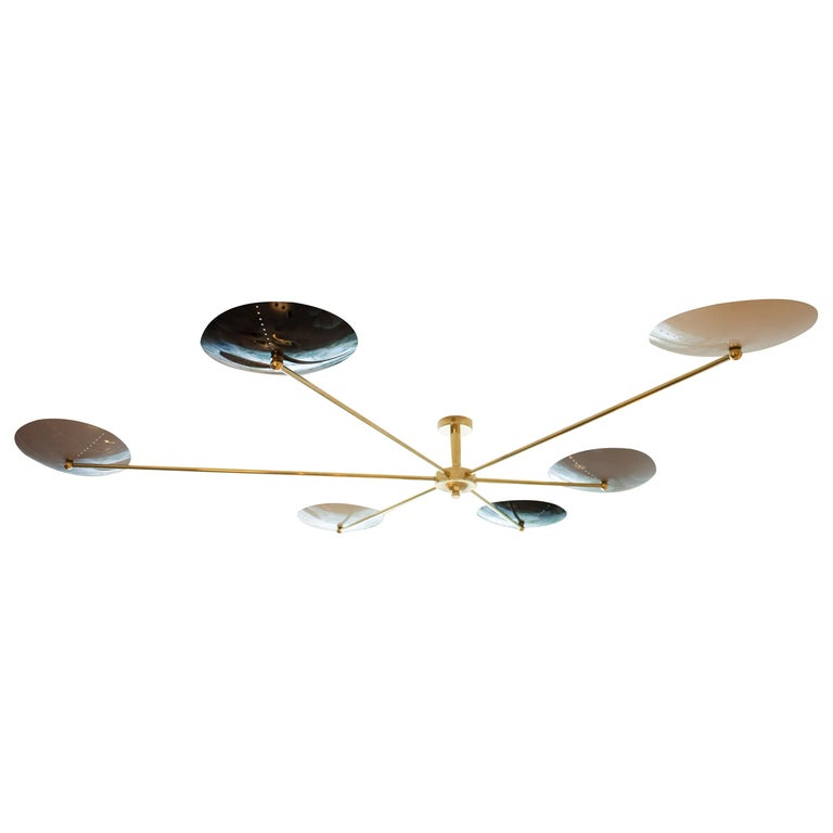 Italian Brass and Enamel Ceiling Mounted Light For Sale