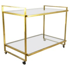 Italian Brass and Glass 1970s Serving Cart
