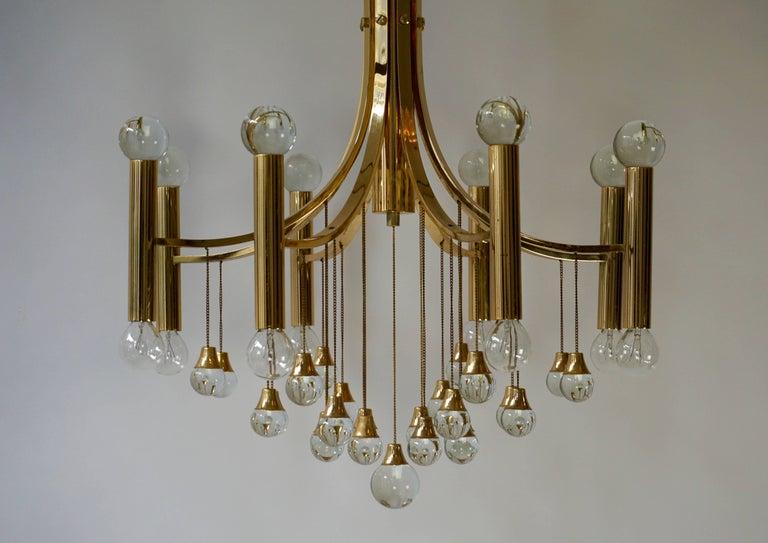 Hollywood Regency Italian Brass and Glass Chandelier by Sciolari For Sale