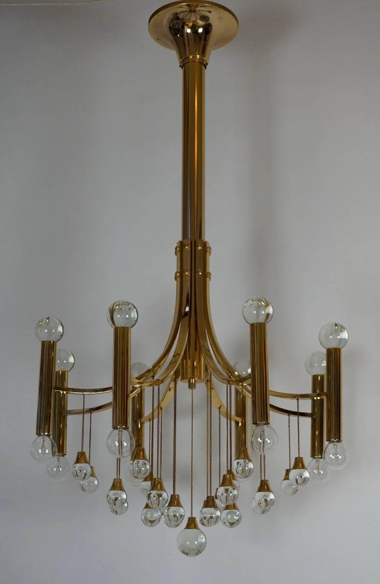 Italian Brass and Glass Chandelier by Sciolari For Sale 1