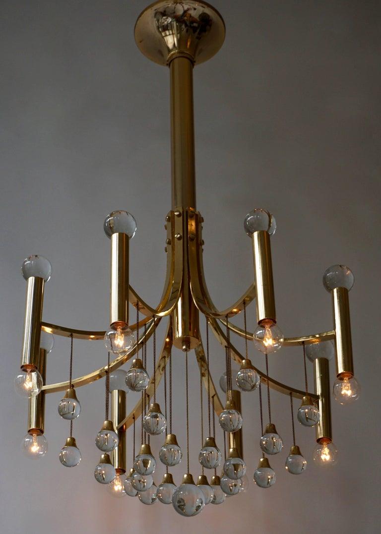 Italian Brass and Glass Chandelier by Sciolari For Sale 3