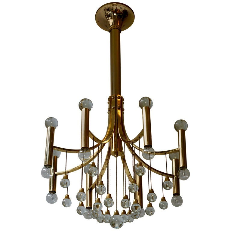 Italian Brass and Glass Chandelier by Sciolari For Sale