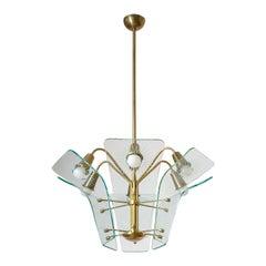 Italian Brass and Glass Chandelier, circa 1960