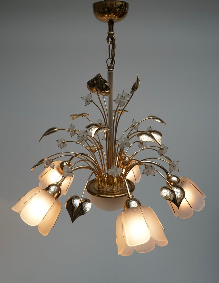 Hollywood Regency Italian Brass and Glass Chandelier For Sale