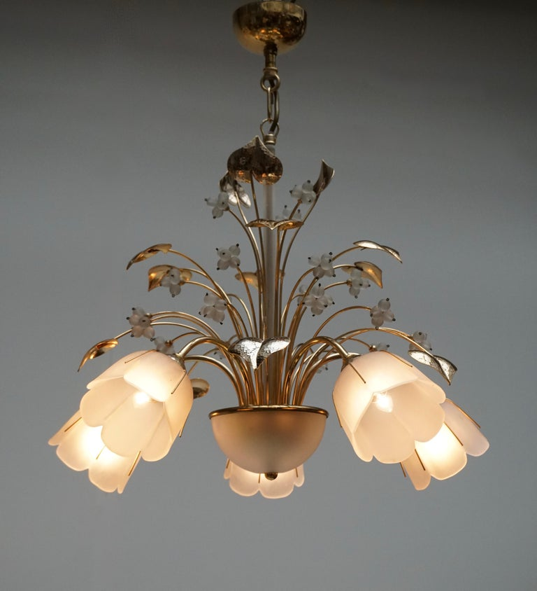 20th Century Italian Brass and Glass Chandelier For Sale