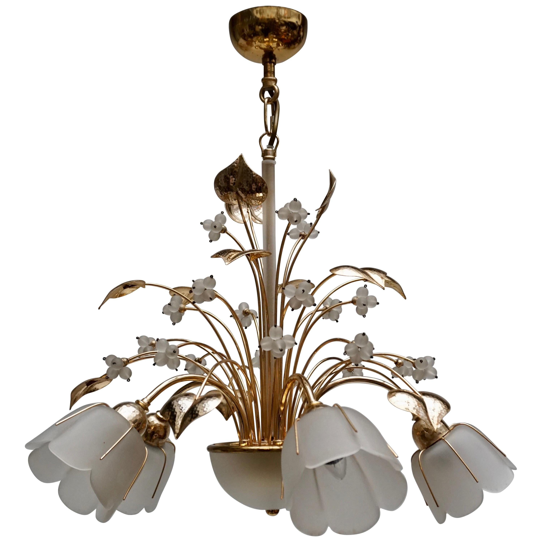 Italian Brass and Glass Chandelier