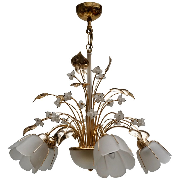 Italian Brass and Glass Chandelier For Sale
