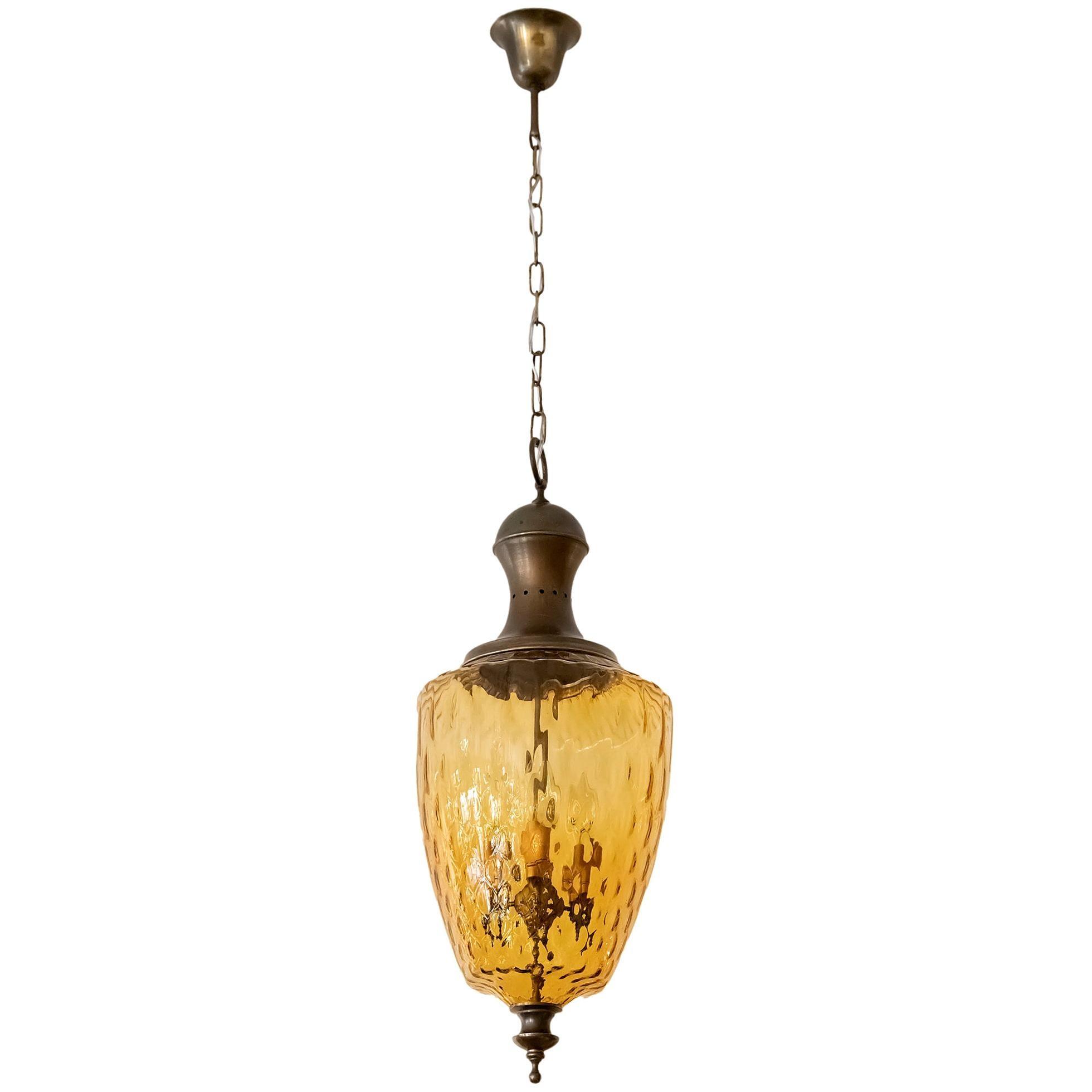 Italian Brass and Glass Chandelier Lantern, circa 1950