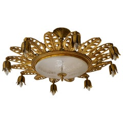 Italian Brass and Glass Flush Mount, Chandelier
