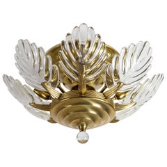 Italian Brass and Glass Flush Mount, circa 1980