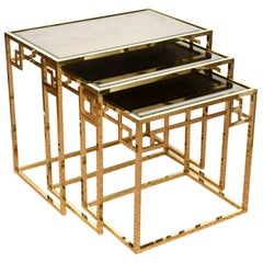 Italian Brass and Glass Greek Key Nesting Tables Vintage