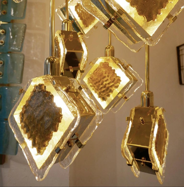 Mid-Century Modern Italian Brass and Glass Long Chandelier For Sale