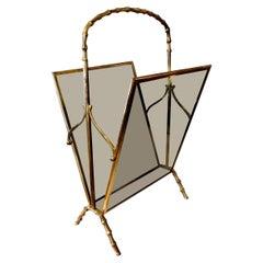 Italian Brass and Glass Magazine Rack Inspired by Gio Ponti