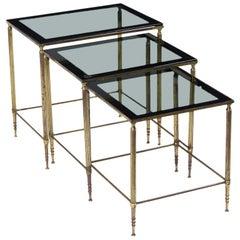 Italian Brass & Glass Nesting Tables
