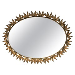 Italian Brass and Mirror Oval Vanity Tray