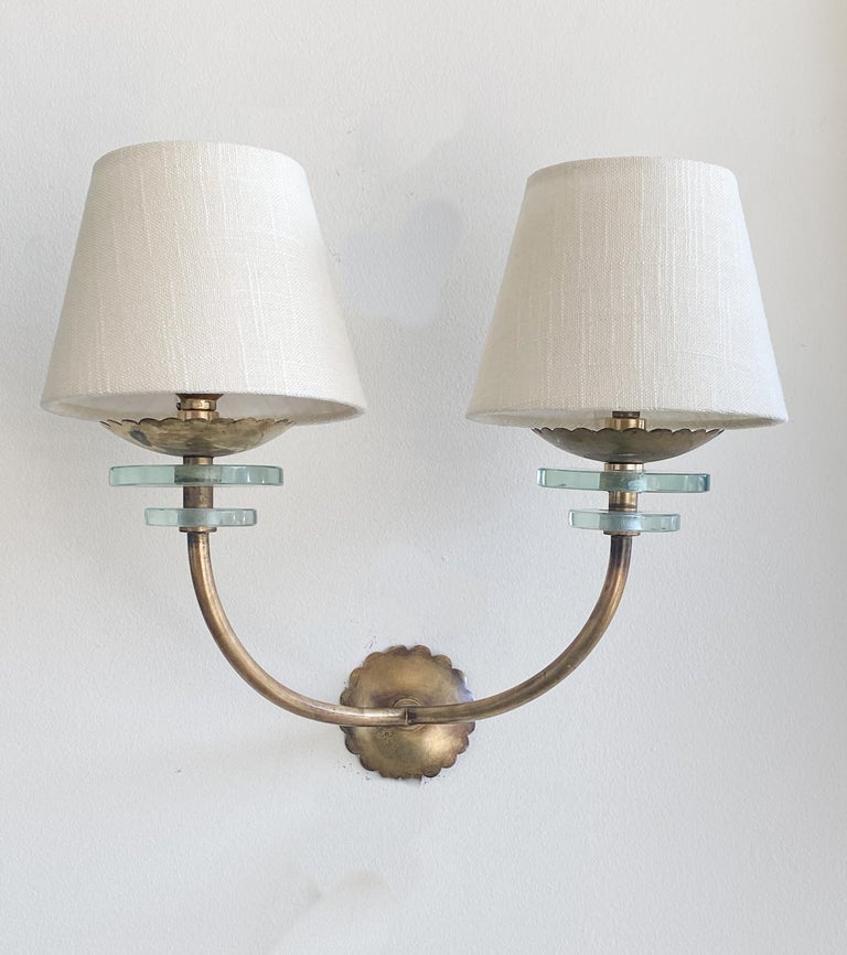 Italian Brass and Glass Sconces 6