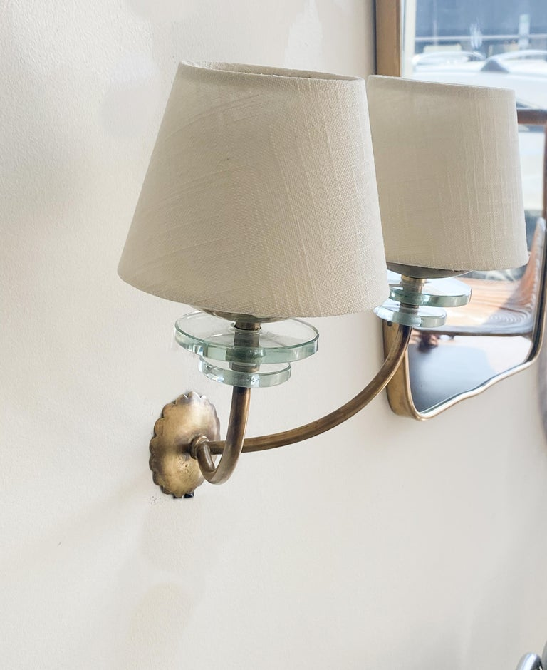 Italian Brass and Glass Sconces 5