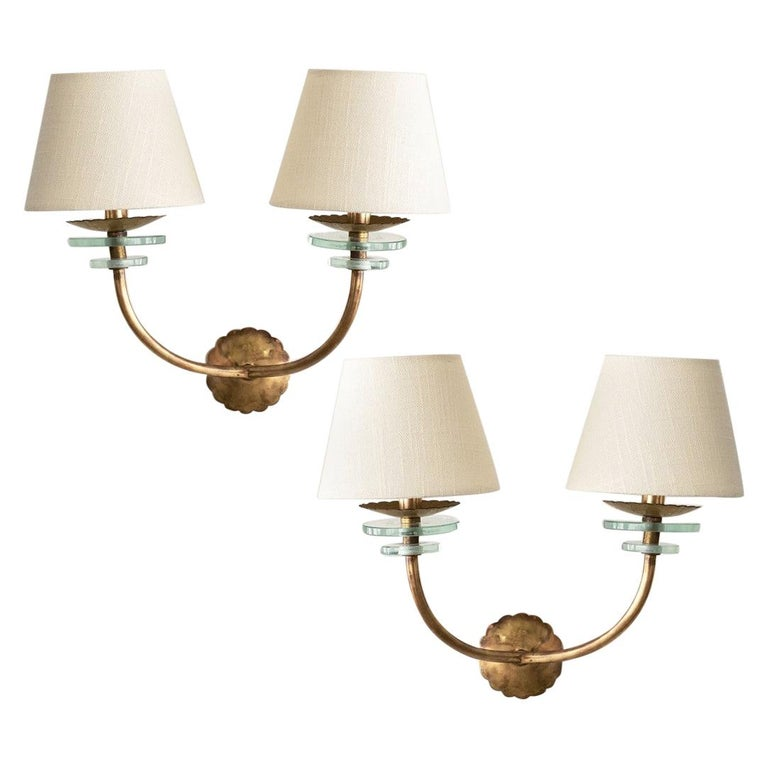 Italian Brass and Glass Sconces