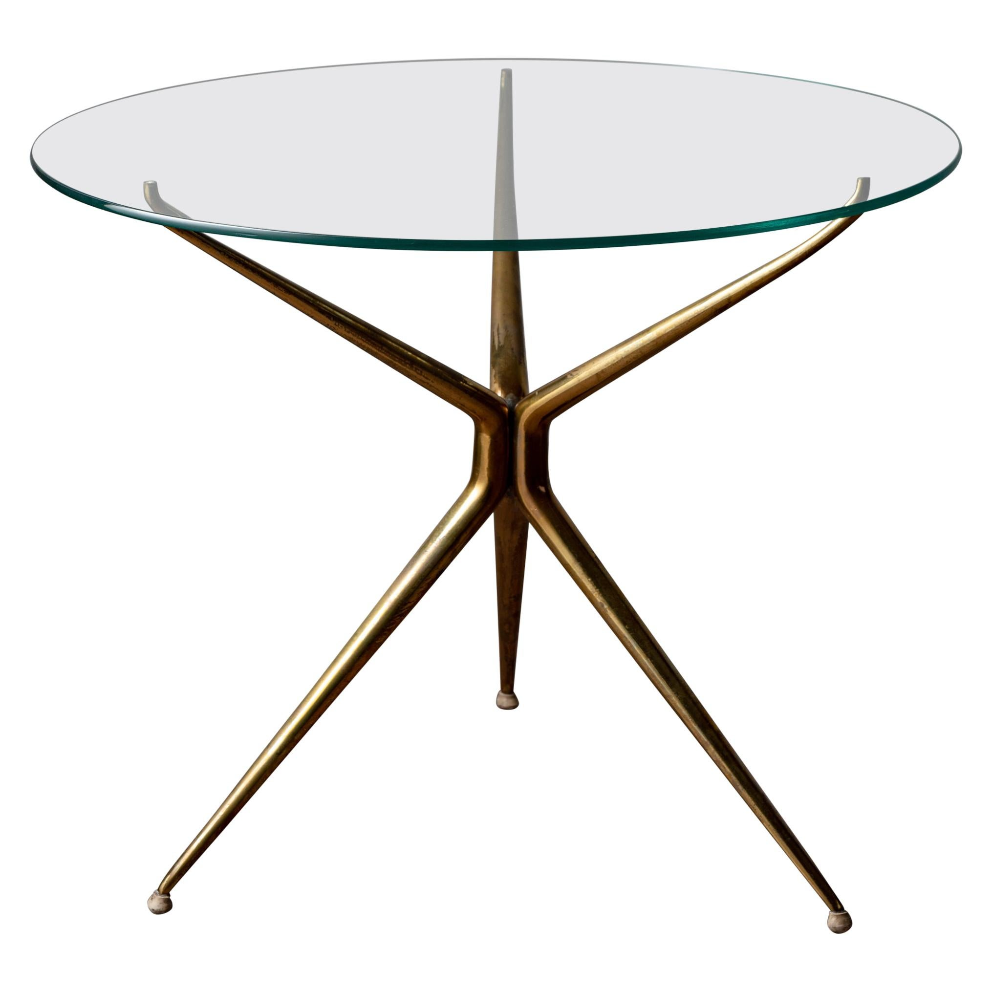 Italian Brass and Glass Side Table