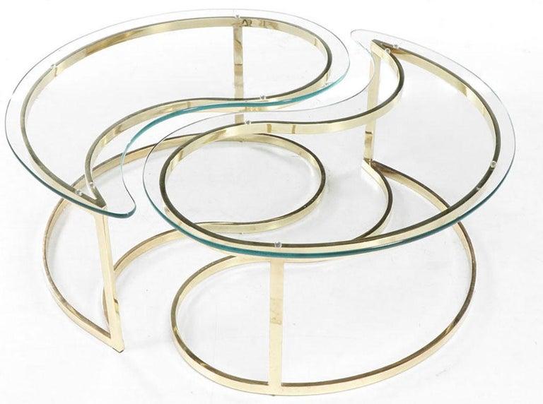 Italian brass coffee table in the distinctive