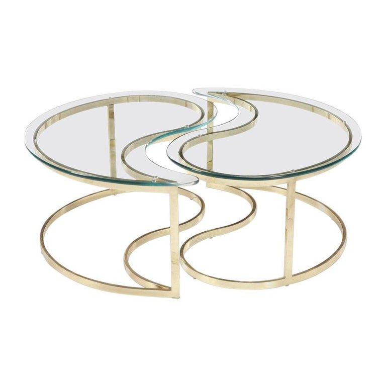 Italian Brass and Glass Yin Tang Coffee Table For Sale