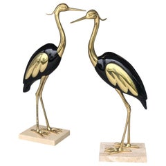 Italian Brass and Lacquer Pair of Life-Size Bird Sculpture