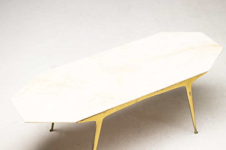 Mid-Century Modern Italian Brass and Marble Coffee Table For Sale