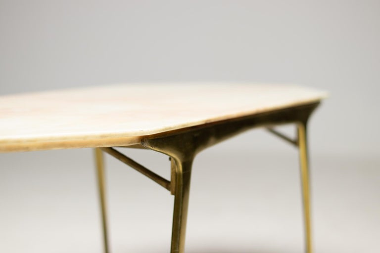 Mid-20th Century Italian Brass and Marble Coffee Table For Sale