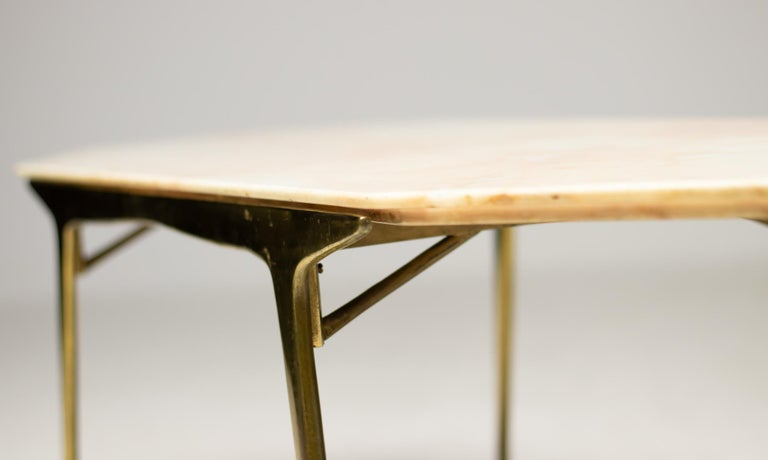 Italian Brass and Marble Coffee Table For Sale 1
