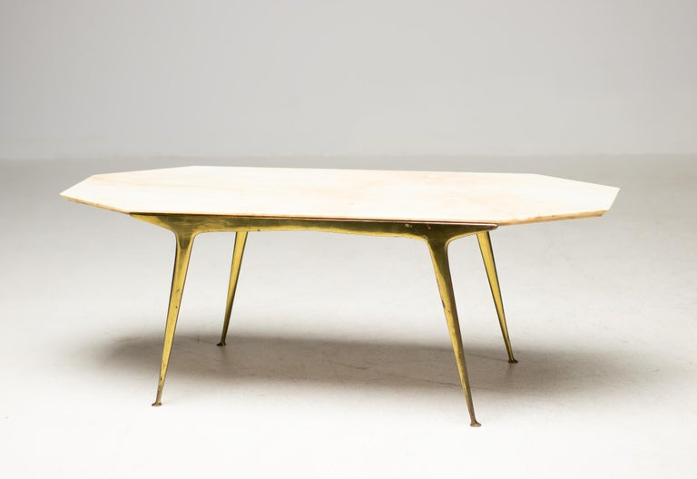 Italian Brass and Marble Coffee Table For Sale 2