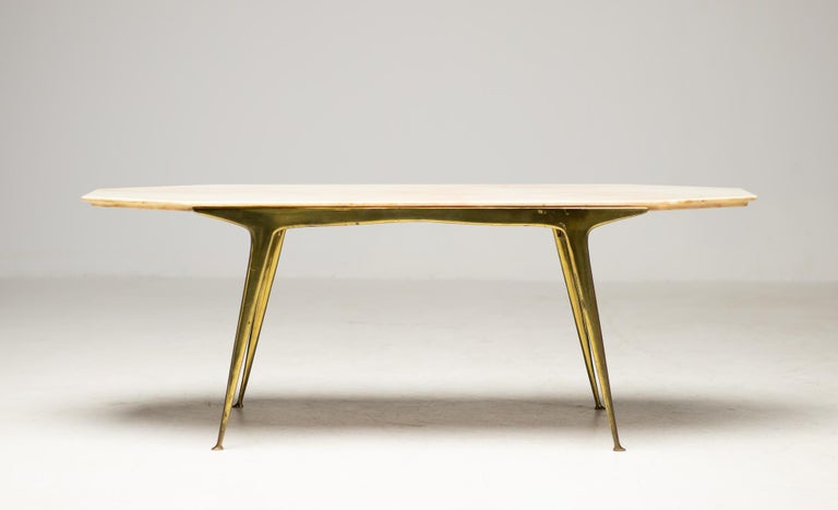 Italian Brass and Marble Coffee Table For Sale 4
