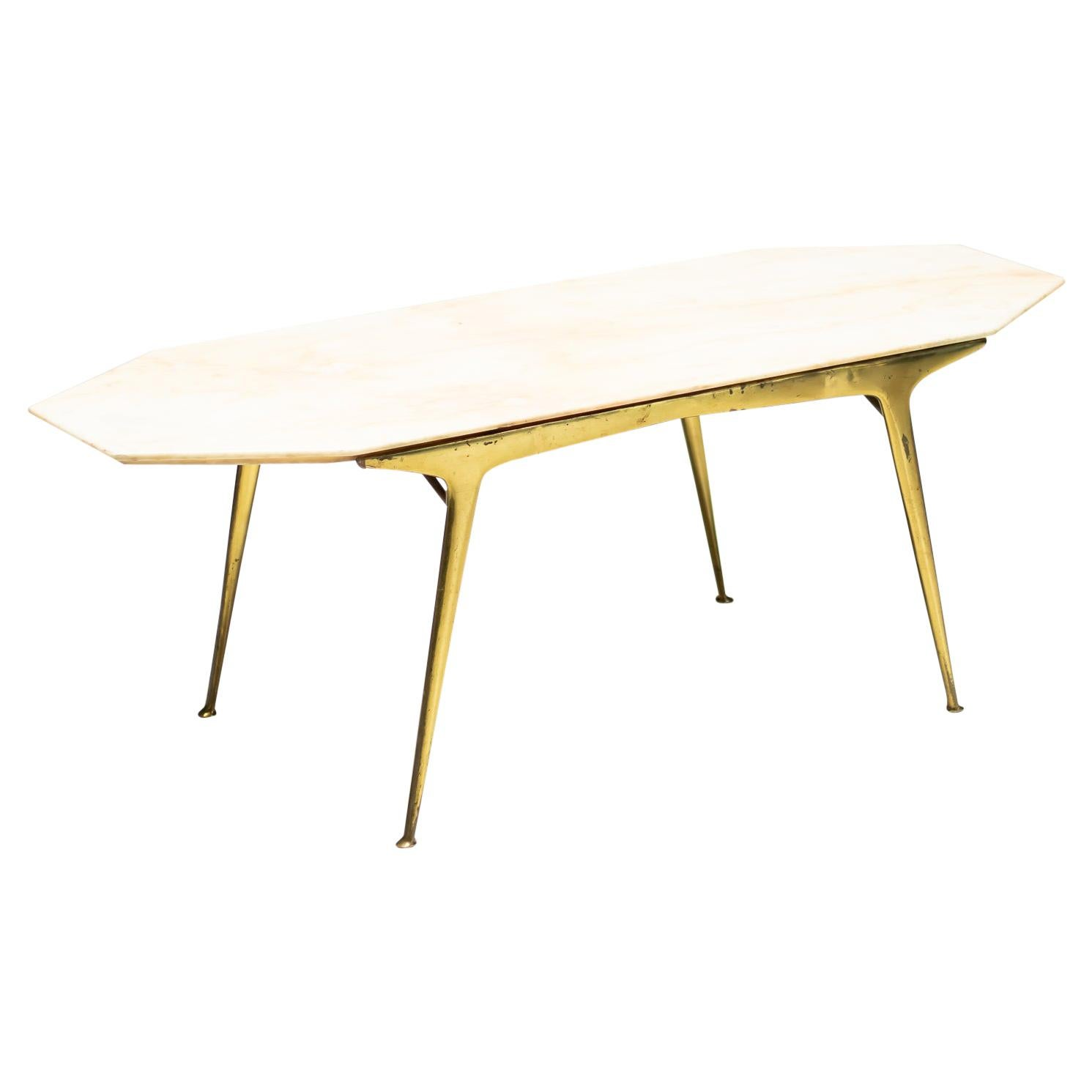Italian Brass and Marble Coffee Table
