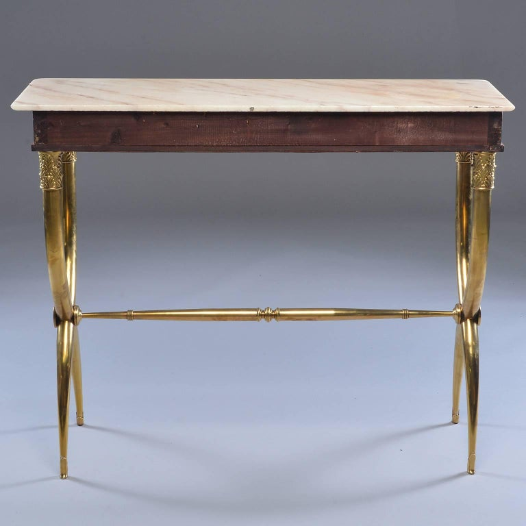 Italian Brass and Marble Neoclassical Style Console In Good Condition For Sale In Troy, MI